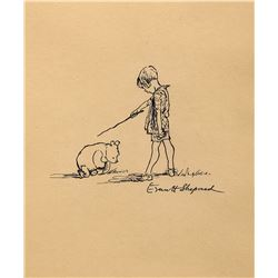 "E. H. Shepard drawing of ""Winnie the Pooh"" and ""Christopher Robin""."