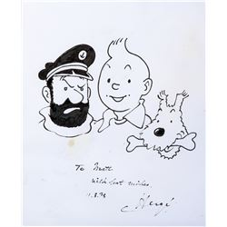 "Herge' drawing of ""Tintin"", ""Snowy"" and ""Captain Haddock""."