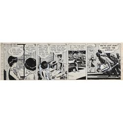 Milton Caniff original signed Steve Canyon daily comic strip.