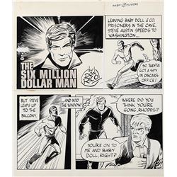 Don Rico signed original art for an unpublished comic strip entitled, The 6 Million Dollar Man.