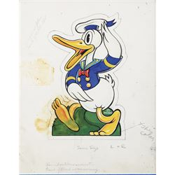 """Donald Duck"" illustration art for Fisher Price pull-toys with (3) Fisher Price pull-toys."