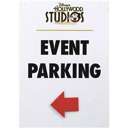 "Disney's Hollywood Studios ""Event Parking"" and ""Onstage Guest Area"" signs featuring ""Mickey Mouse""."