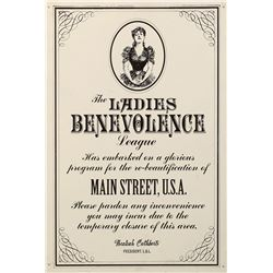 "Disney World ""Ladies Benevolence League Refurbishment"" sign."