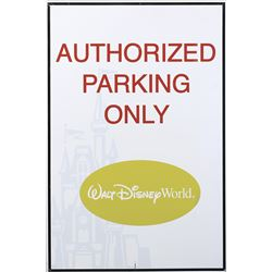 "Disney World ""Authorized Parking Only"" and ""Press Event Parking"" featuring ""Mickey Mouse"" signs."