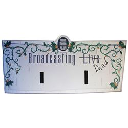 "Disneyland Haunted Mansion Holiday ""Broadcasting Dead"" sign."