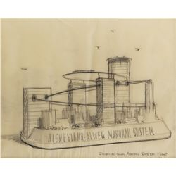 Bruce Bushman original drawing of Disneyland Monorail Float.