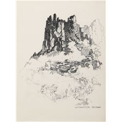 "Herbert Ryman drawing of ""Superstition Mountain""."