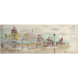 Disneyland Main Street original pan concept art by Dale Hennesy.