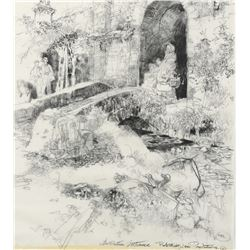 "Herbert Ryman concept drawing of a rustic entrance for a proposed ""Beatrix Potter"" theme park."