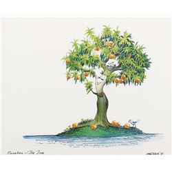 "Marc Davis Concept painting of ""Peaches, The Tree"" for a Magic Mountain attraction."