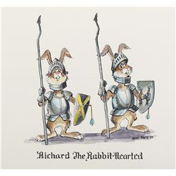 "Marc Davis concept painting of ""Richard the Rabbit-Hearted"" for the Magic Mountain attraction."
