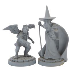 """The Wicked Witch"" and ""Flying Monkey"" Maquettes."