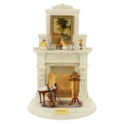 "Goebel Fireplace Mantel Series ""A Musical Study"" set of (3) figurines with fireplace display."