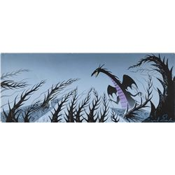 "Eyvind Earle concept painting of ""Maleficent"" as the Dragon from Sleeping Beauty."