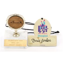 Imagineer Bruce Gordon Davy Crockett Explorer Canoes trophy & Disneyland 35th Anniversary name badge