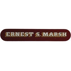 Ernest S. Marsh hand painted metal sign from Disneyland Railroad Steam Engine #4.