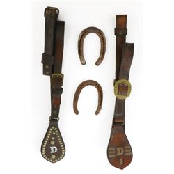 Disneyland leather tack for Main Street trolley horses & (2) souvenir horseshoes.
