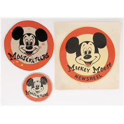 The Mickey Mouse Club (2) costume patches and (1) Newsreel decal.