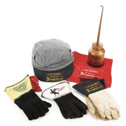 Disneyland Railroad Chief Engineer costume set and (2) pairs of character gloves.