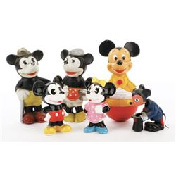 Mickey and Minnie Mouse (6) figurines from Disneyland.