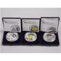 3x 925 Silver Coins - 'Marine Life Protection' $5.