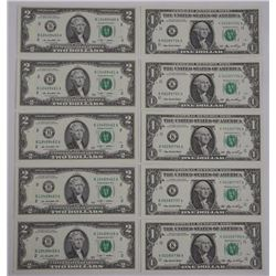10x USA UNC Bank of Notes, 5 - One Dollar, 5 - Two