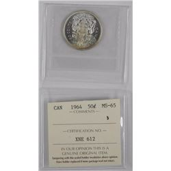 Canada 1964 Silver 50cent, ICCS, MS65