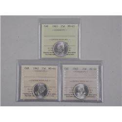 3x Canada Silver 25 Cent Coins (MS64-MS65) ICCS