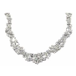 Ladies 925 Silver Necklace. 15 Prong, Oval Swarovs