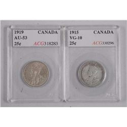 2x Canada Silver 25 Cent: 1915 (VG10) and 1919 (AU