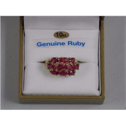 Ladies 10kt Yellow Gold Ring. 2 Prong, Oval Rubies