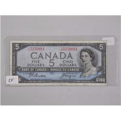 Bank of Canada - 1954 Five Dollar Note. Modified P