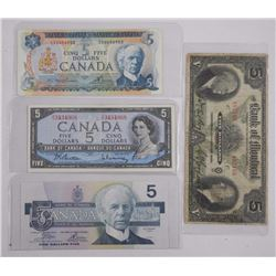 4x Five Dollar Noted; Includes Bank of Montreal La