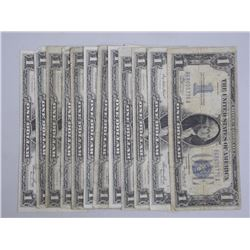 14x USA Silver Certificates - Mix of Series.