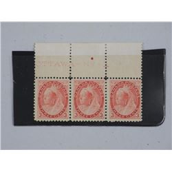 Canada - Postage Stamps Plate Strip of 3 CAT 78. M