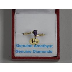 Ladies 14kt Yellow Gold Ring. 1 Prong, Pear Purple