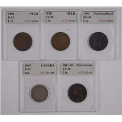 5x ACG Graded Large One Cent, NFLD, N.S., ONT.