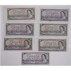 7x Bank of Canada 1954 'Ten Dollar' Includes 1 x D