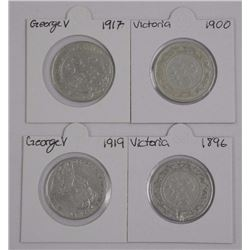 4x NFLD .925 Silver Fifty Cents, 1900-1917, 1919,