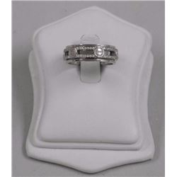 Ladies 925 Silver Custom Band Ring - with 72 Pave