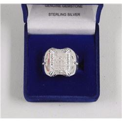Ladies Sterling Silver Cluster Ring. 50 Round Diam