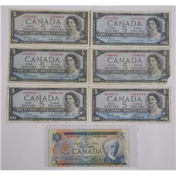 7x Bank of Canada Five Dollar = 6 - 1954 M.P., 1 -
