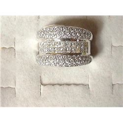 One Lady's 18kt (Stamped) White Gold Custom Diamon