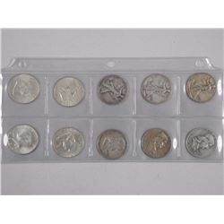 10x USA Silver 50 Cent Coins Mix Dates