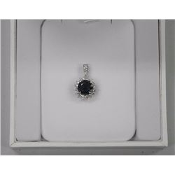 Ladies 18kt White Gold Pendant. 1 Prong, Round Blu