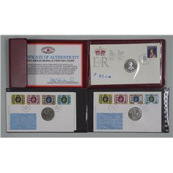 3x Queen's Jubilee Stamp, Coin and 1st Day Covers