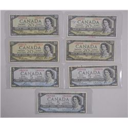 Lot 1954 Canada BanknotesFive Dollar, Ten Dollar,