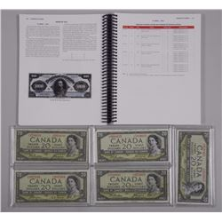 5x Bank of Canada, 1954. $20.00 Devil's Face& Char