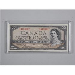 Bank of CANADA 1954 One Hundred Dollar Note. Cased