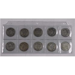10x Silver Canada Fifty Cents 1940's - 1950's. (At